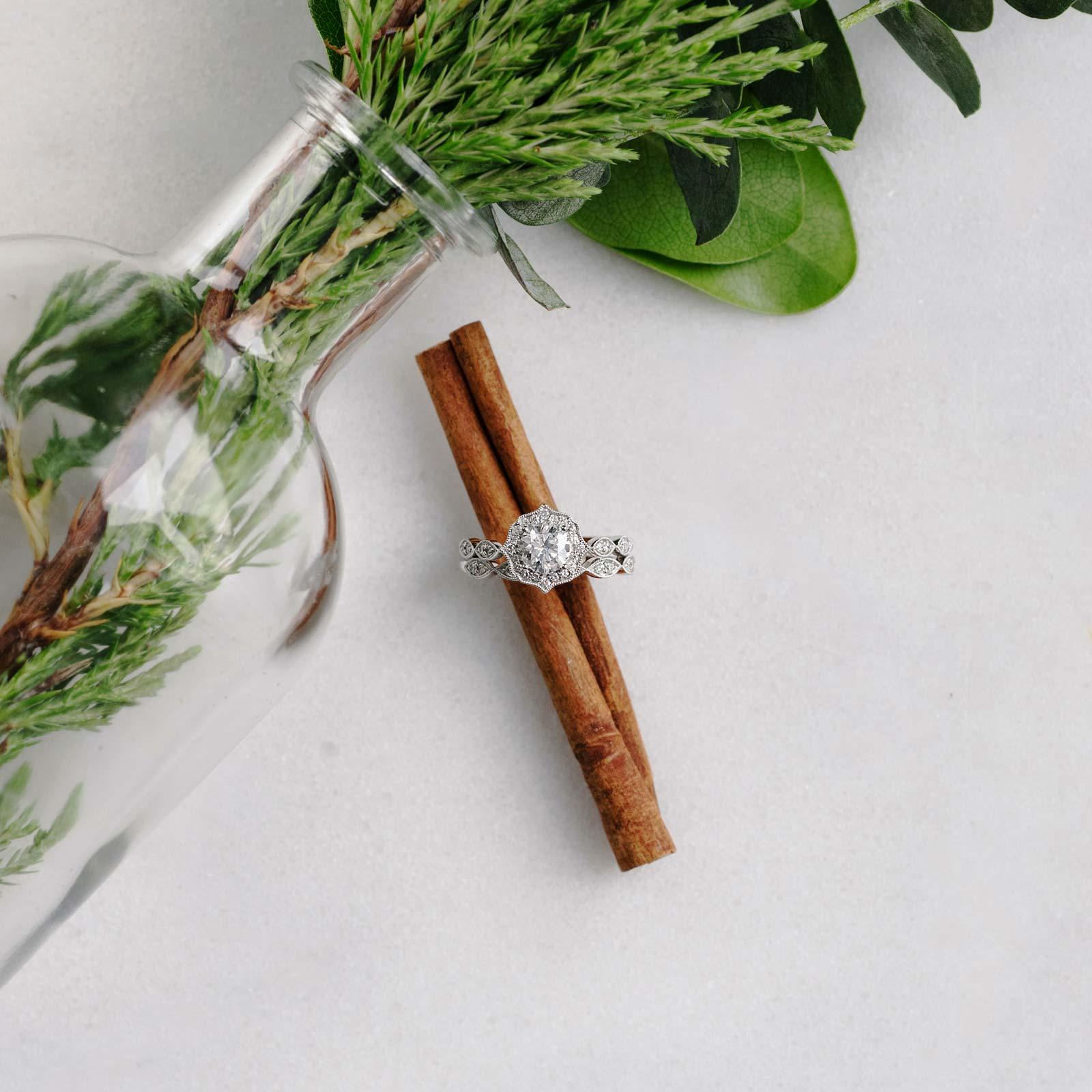 Paris Jewellers diamond ring photograph with greenery