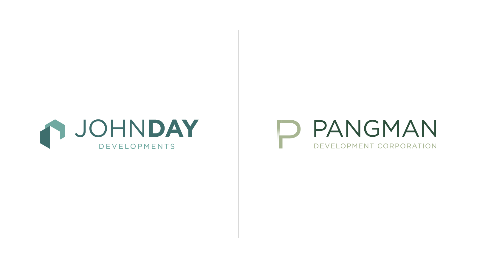 Redesigned John Day Developments and Pangman Development Corporation logos side-by-side