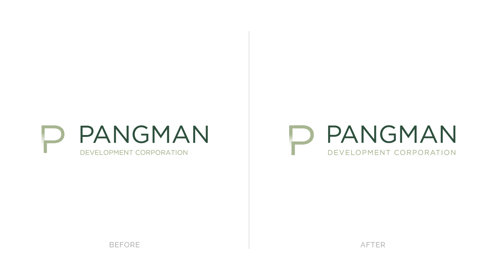 Pangman logos before and after